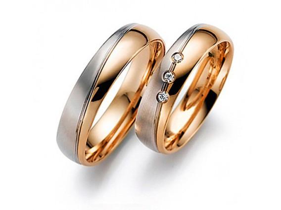 Обручальные кольца с бриллиантами из белого и рыжего золота