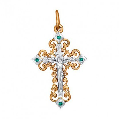Крест из рыжего и белого золота с фианитами