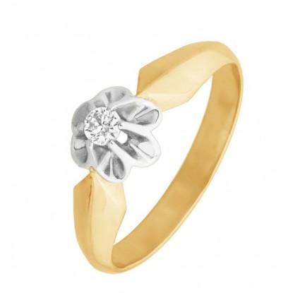 Помолвочное кольцо с фианитом из белого и рыжего золота