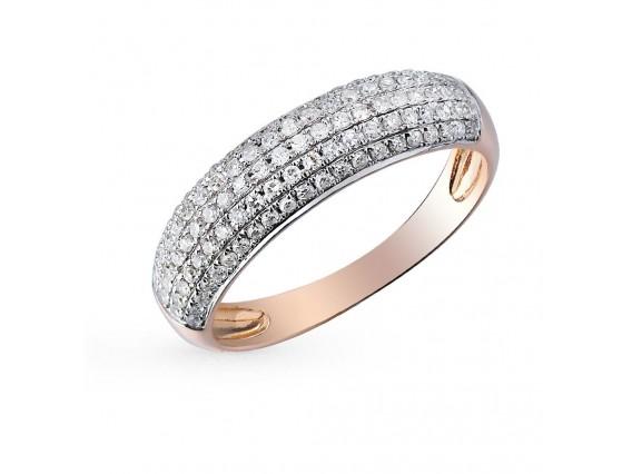 Кольцо из рыжего золота с фианитами