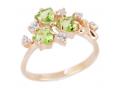 Кольцо из золота с фианитами и полудрагоценными камнями