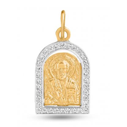Иконка из комбинированного золото с фианитами