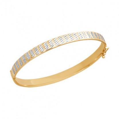 Браслет жесткий рыжего золота с алмазной гранью и родием